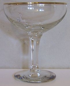 Babycham Original Glasses - White Bambi, Blue Logo, Hexagonal Stem - ONLY 1 remaining